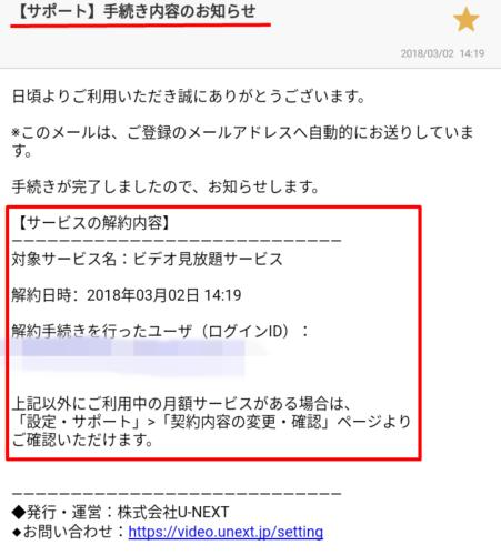 U-NEXTの解約完了メールの内容