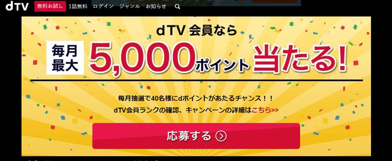 dTVの会員限定のキャンペーン