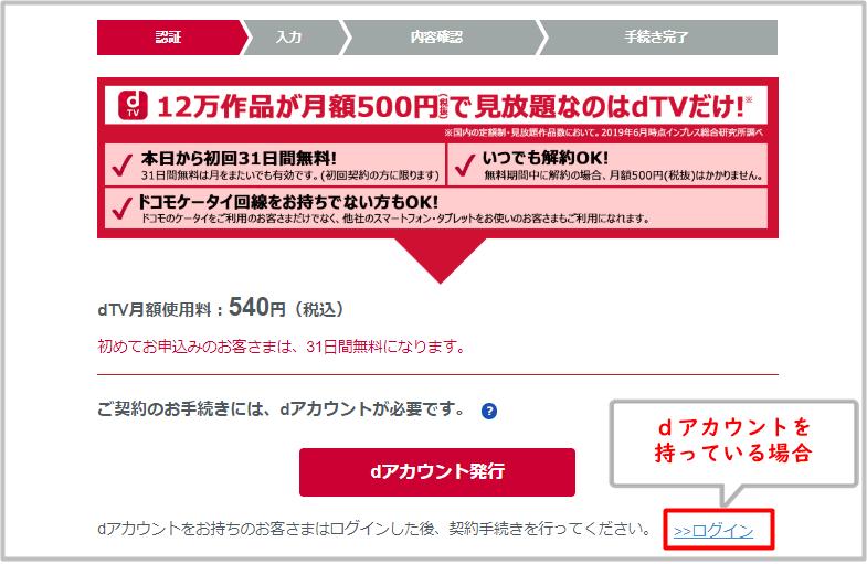 dアカウントを持っている人がdTVに登録する時のログイン画面