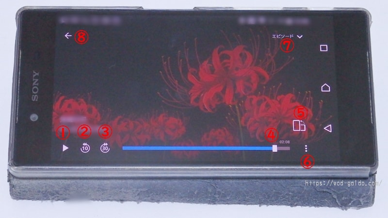 U-NEXTアプリで再生中の表示画面