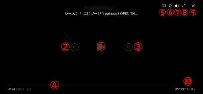 Amazonプライム・ビデオをパソコンで再生中の表示画面