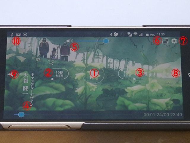 FODアプリで動画再生中の表示画面の説明