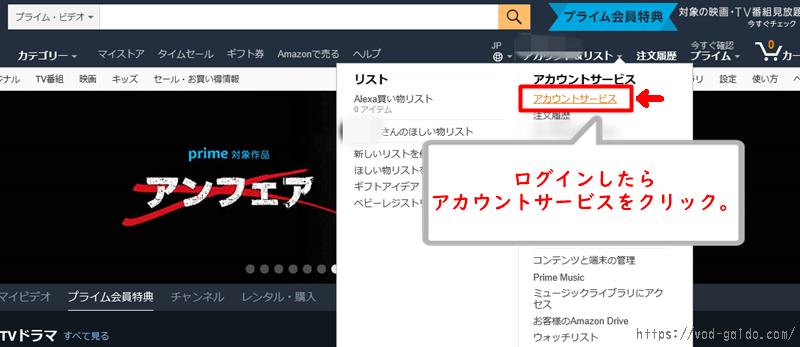 Amazonプライム・ビデオをパソコンから解約する手順1