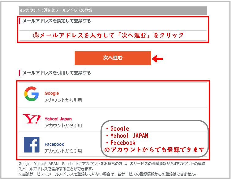 ドコモユーザーでdアカウントが無い場合のメールアドレス入力画面