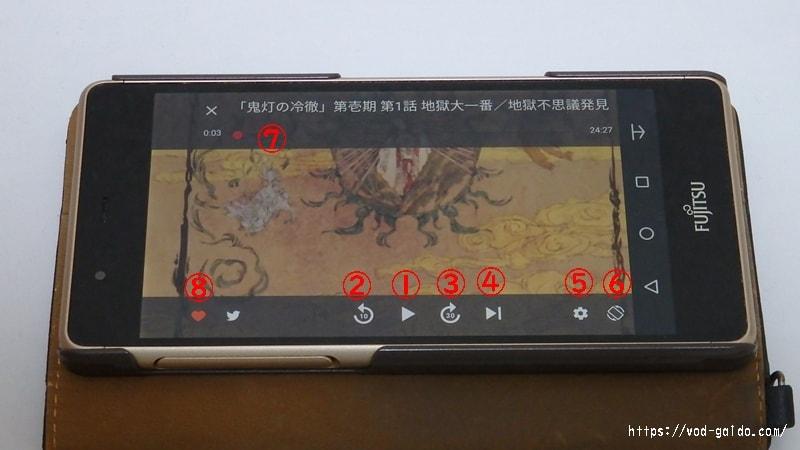 dアニメストアのアプリで再生中の横画面の表示画面