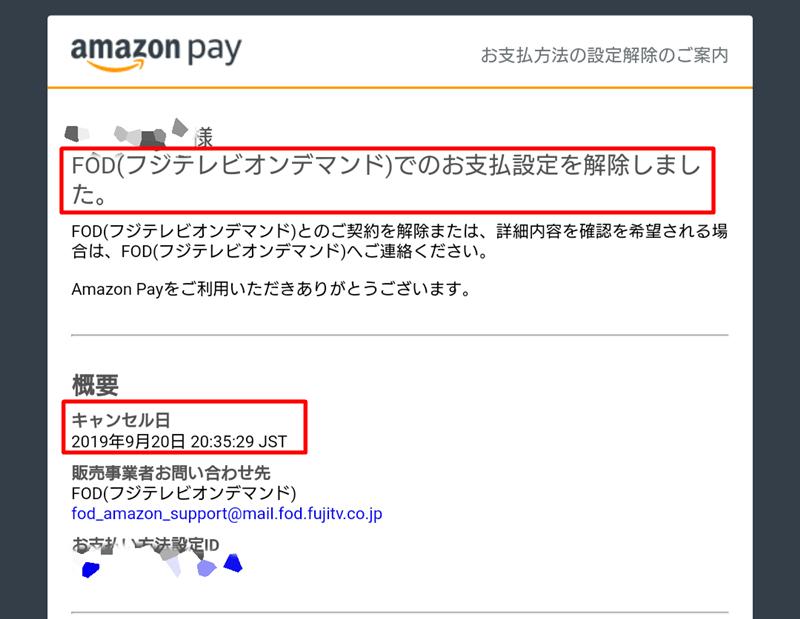 AmazonアカウントでFODプレミアム解約後に届くメール