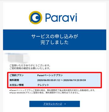 サービスの申し込み完了メール